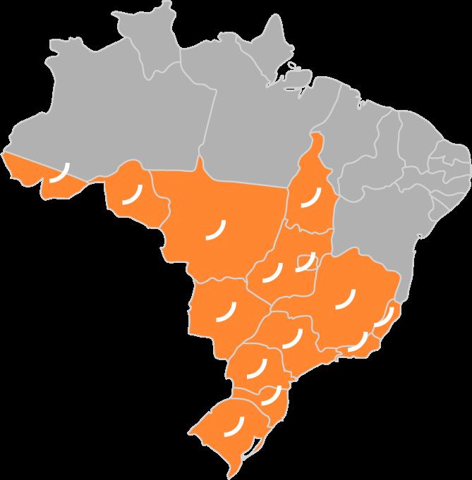 Mapa da rede Safepark no Brasil